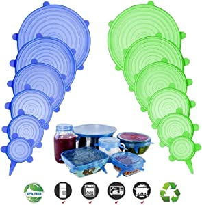Silicone Stretch Lids, Adpartner 12 Pack of Various Sizes BPA-free Silicone Lids Reusable Container Lids Food Covers, Flexible to Fit All Shape of Containers, Durable, Microwave and Dishwasher Safe