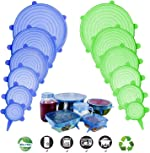 Silicone Stretch Lids, Adpartner 12 Pack of Various Sizes BPA-free Silicone