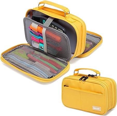 VASCHY Estuche Grande,Estuche Lápices Papelería Estuches con Compartimento Estuches para Colegio Oficina Trabajo Amarilla: Amazon.es: Oficina y papelería