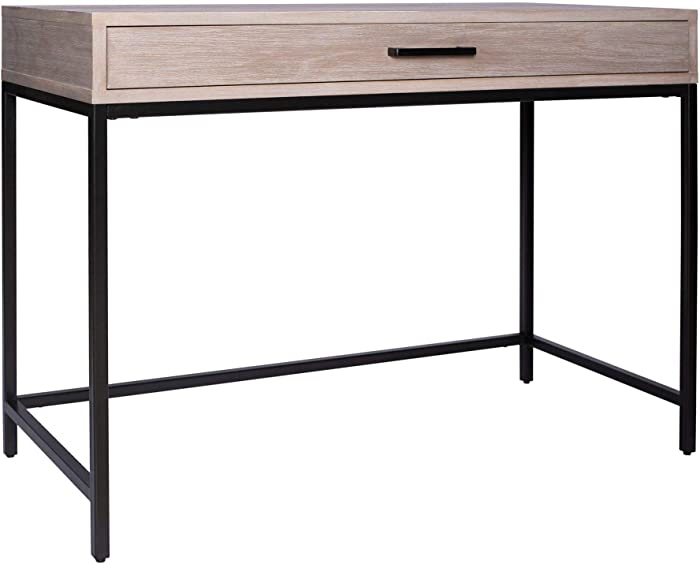 """Amazon Brand – Rivet Avery Industrial Home Office Writing Desk with Metal Base, 40""""W, Weathered Gray Oak Finish"""