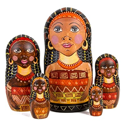 Books.And.More Set of 5 African Queen Nesting Doll Russian Matryoshka 7 Inches: Toys & Games