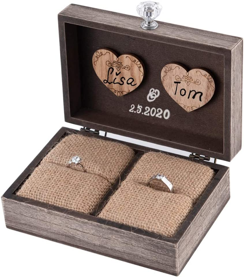 Y&K Homish Wedding Ring Box Unique and Engagement Ring Holder Boxes for Marriage Mr and MRS Decorative Box (Rustic Brown)