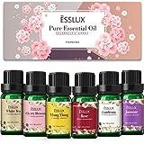 Essential Oils, Esslux Floral Aromatherapy Oils Gift Set, Rose, Jasmine, Ylang Ylang, Cherry Blossom, White Tea, Gardenia, Pu