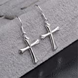 Skyllc® Genuine Sterling Silver Cross Earring Stud Eardrop Jewelery for Women