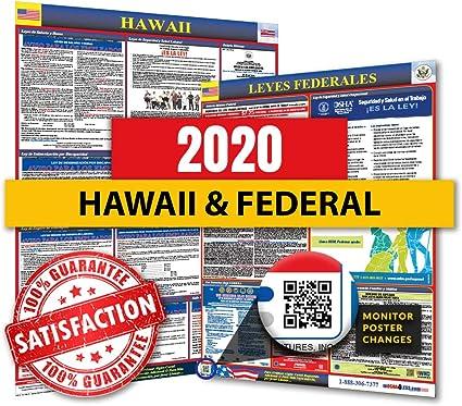 2019 Hawaii - Póster de la Ley de Trabajo Federal y del Estado de España para el cumplimiento del lugar de trabajo: Amazon.es: Oficina y papelería