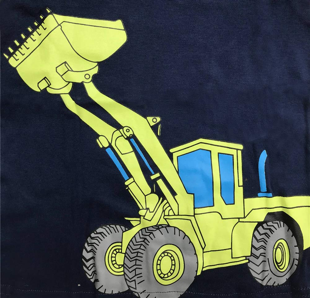Little Boy Chirstmas Pajamas for Boys Pajamas Kids Excavator Pyjama Nightwear Sleepwear Long Sleeve Pjs Set Size 2-3 Years 3T Christmas Thanksgiving Gifts Thanksgiving Yellow