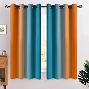 COSVIYA Grommet Ombre Room Darkening Curtains 63 inches Length for Kids/Girls Bedroom, Polyester Light Blocking Orange and Blue Gradient Window Drapes/Curtains for Living Room,2 Panels, 52x63 inches