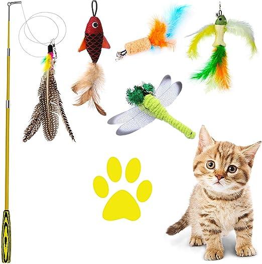 QIMMU Juguete de Varita con Plumas, Gatito Juguete con Plumas, Varita retráctil para Gatos, Gato Juguete Interactivo Cat Varita,Natural de Plumas Varita Gato con 5 repuestos de Plumas: Amazon.es: Productos para mascotas