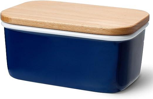 Azul Sweese Mantequera de porcelana con tapa de madera de haya