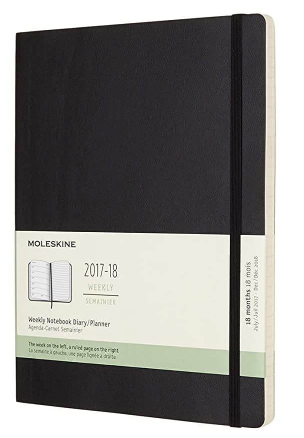 Moleskine Classic 18 Month 2017-2018 Weekly Planner, Soft Cover, XL (7.5