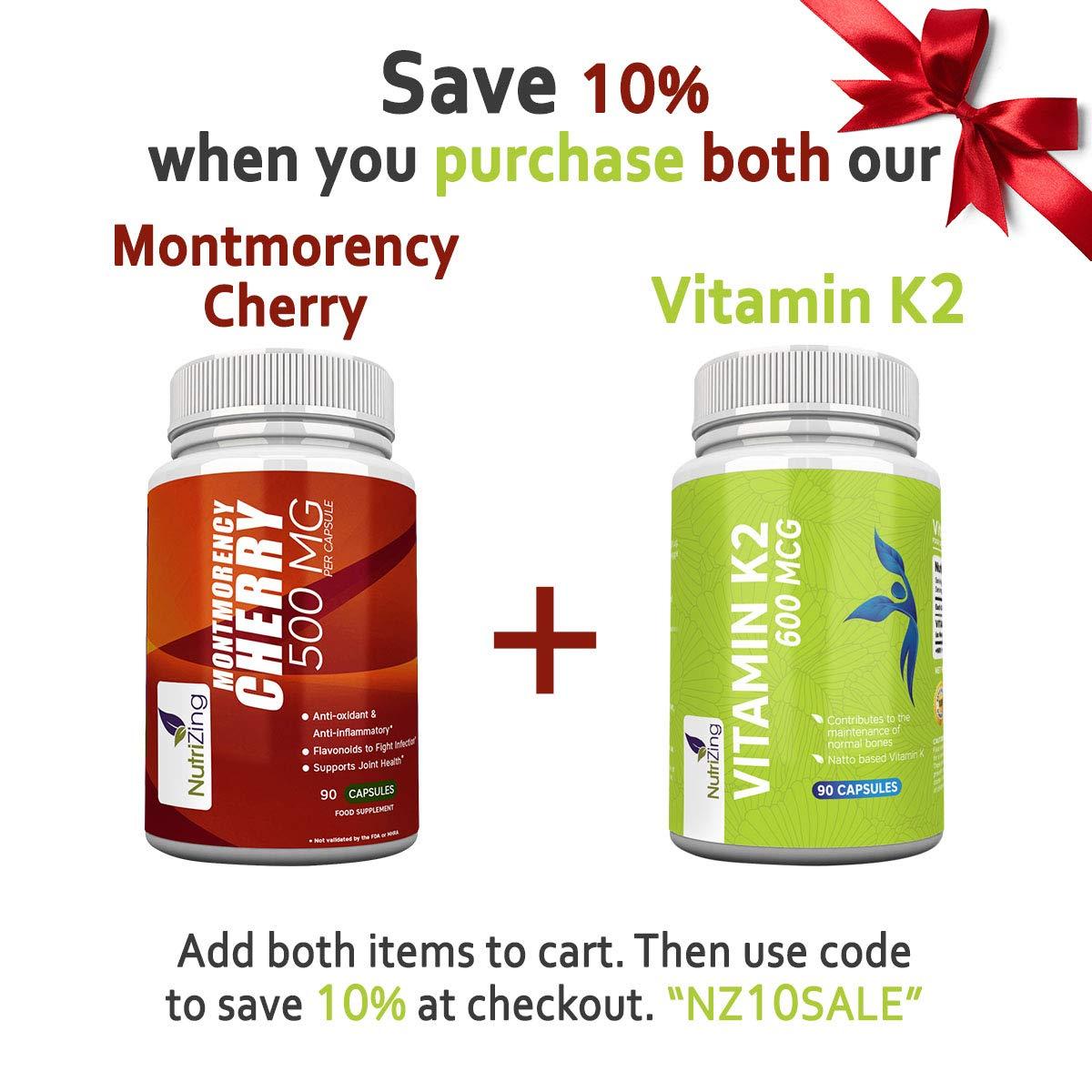 Suplementos NutriZing Montmorency Cherry ~ 90 Capsulas ~ Devolución del Dinero Garantizado ~ Para Hombres y Mujeres ~ Ideal para Vegetarianos y Veganos: ...