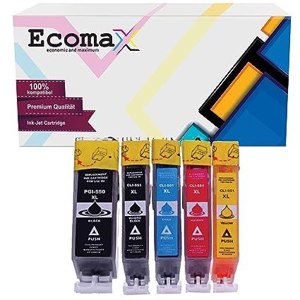 Ecomax - 10 Cartuchos de Tinta compatibles con Canon PGI-550 XL ...
