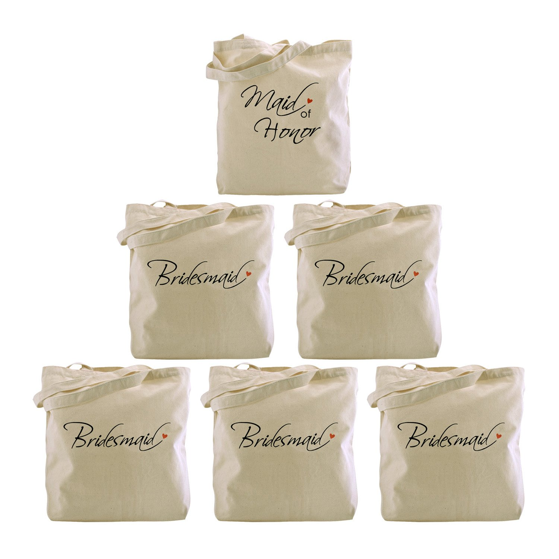 ElegantPark 1Pcs Maid of Honor + 5Pcs Bridesmaid Tote Bags Set for Women Wedding Bridal Bachelorette Gifts Canvas 100% Cotton