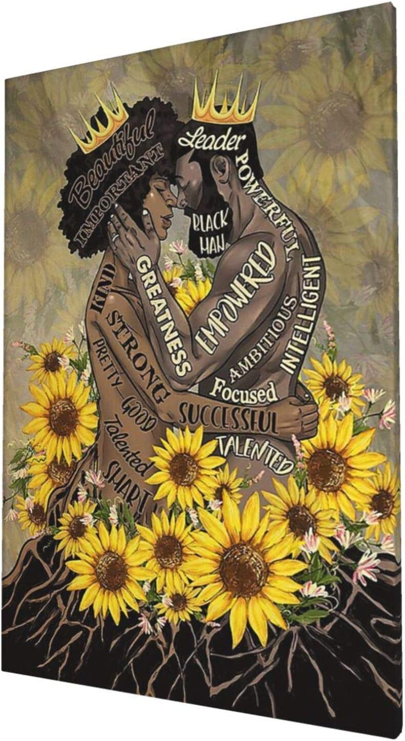 African American Wall Art Sunflower Black King And Queen Giclee Prints Framed Pictures Contemporary Home Decor For Living Room Bedroom Bathroom Stretched Ready To Hang, 16x24 Inch