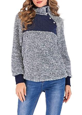 b26b757ed2 Romacci Women s Warm Long Sleeves Fleece Tops Stand Collar Oblique Buttons  Casual Splice Pullover Outwear Coat