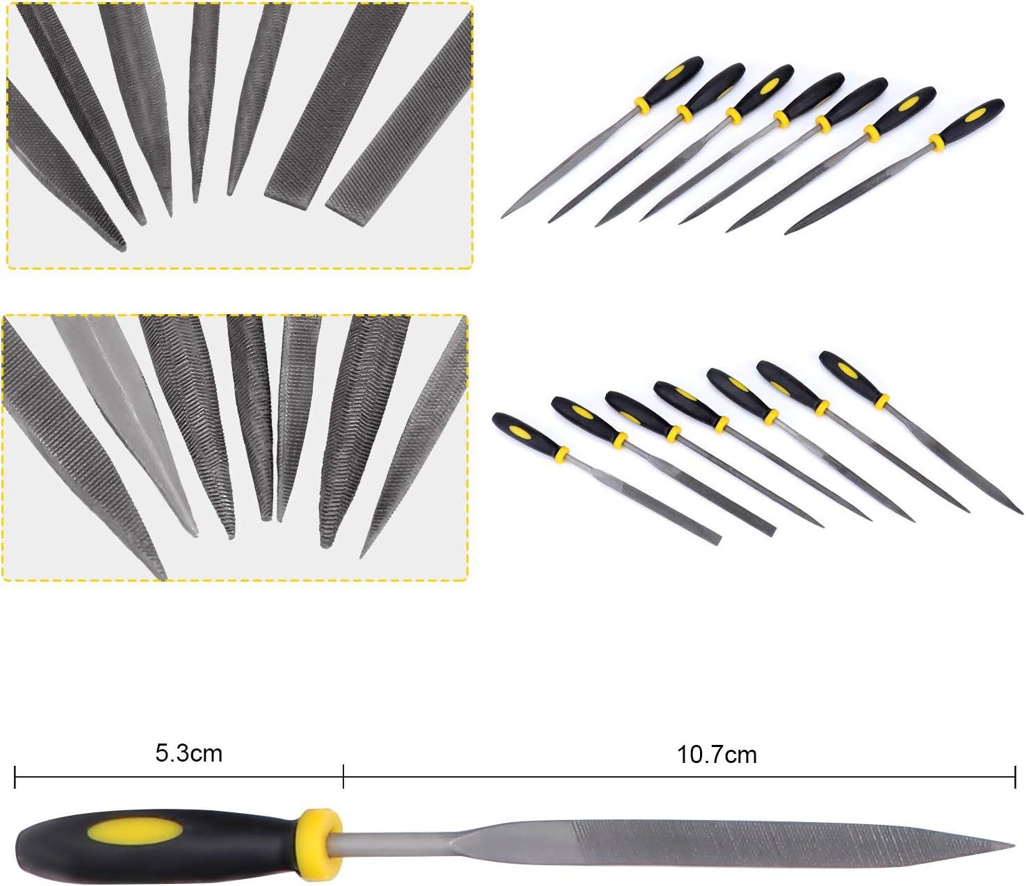 Halbrunder Runder Diamant Feile Set Dreieckiger Feile und Nadelfeile WiMas 19PCS Werkstattfeile Satz Handfeilen-Kit mit flacher