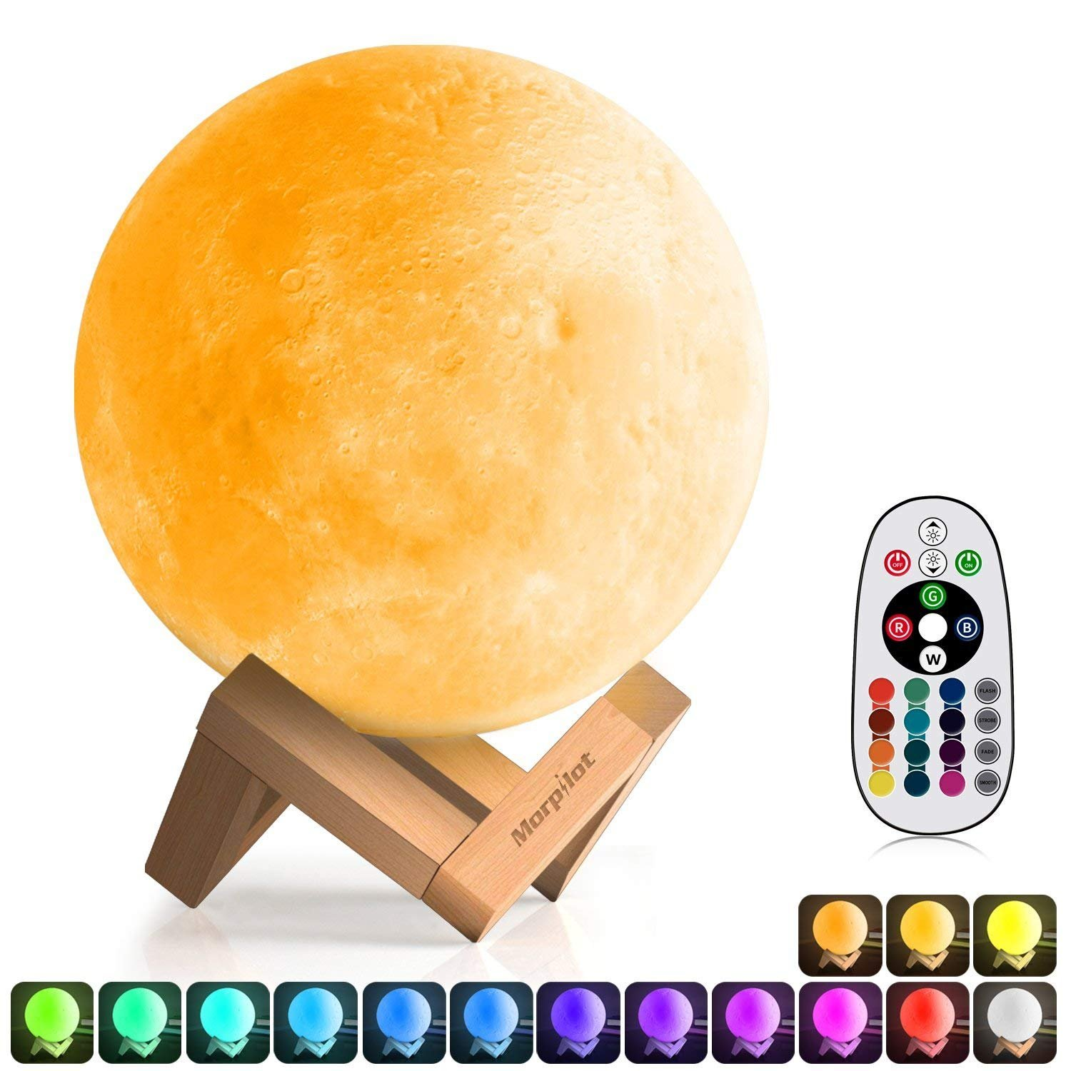 3D Moon Lamp (Diameter 5.9 inch), Morpilot 16 Colors 3D Print Moon Light Home Decorative Lights Night Light with Remote & Touch Control and USB Recharge for Baby Kids Lover Birthday Gifts (5.9) Morpilot180811