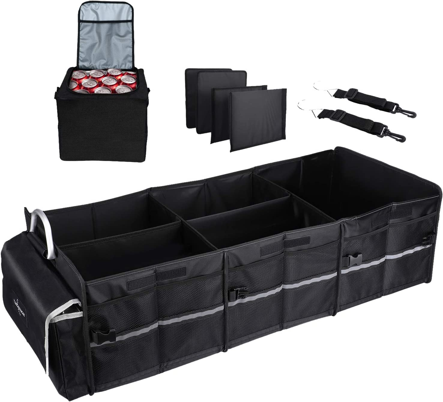 3 Compartments//Cooler, Black Car Trunk Organizer Waterproof Collapsible Trunk Storage Organizer with Insulation Leakproof Cooler Bag for Car Truck SUV