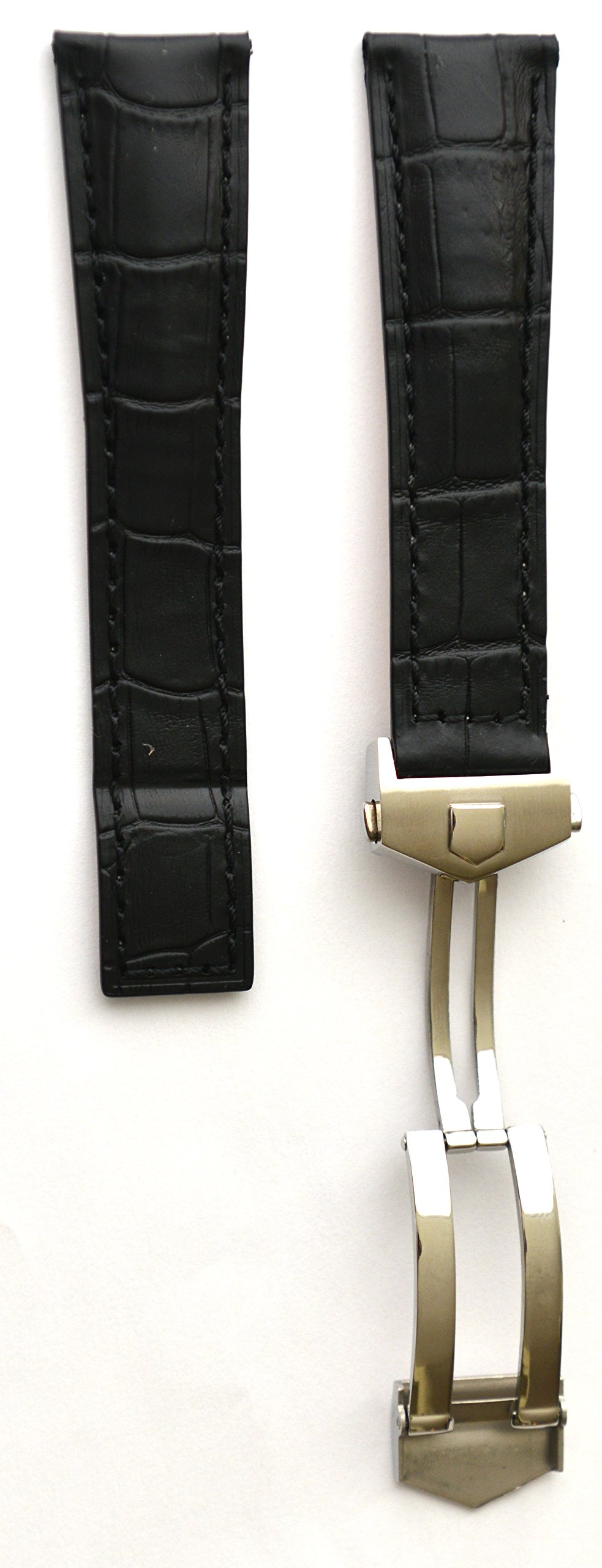 20mm Black watch Band Strap w/Clasp replacement TAG Heuer