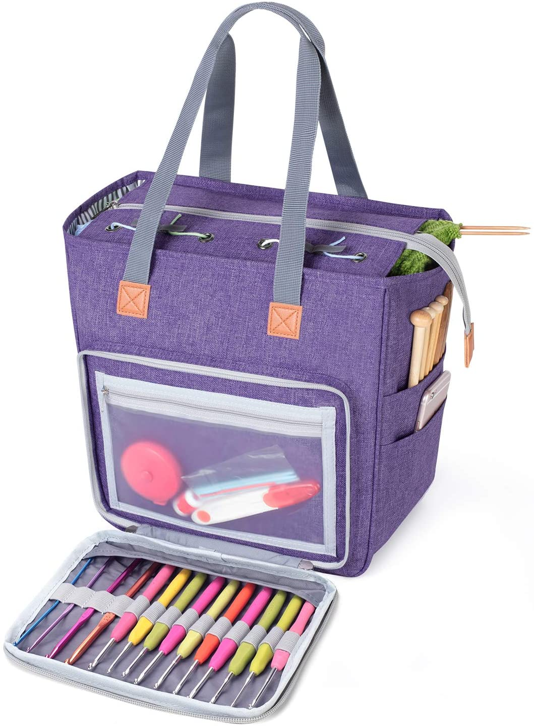 Small Knitting Crochet Craft Zippered Project Bag