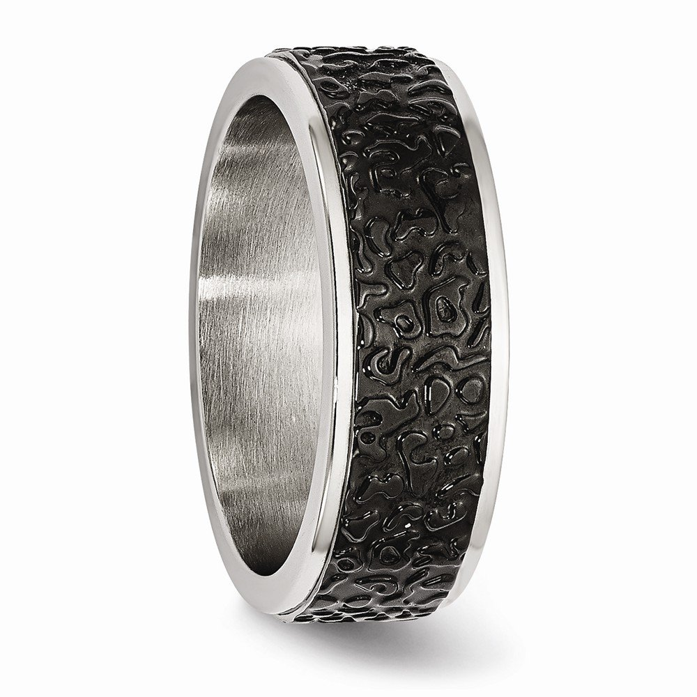Bridal Wedding Bands Fancy Bands Stainless Steel Polished and Textured Black Ip-plated Band Size 9.5