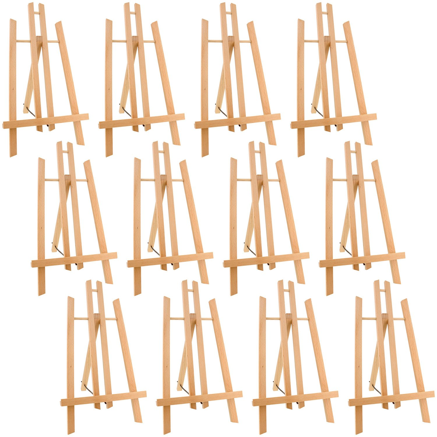 US Art Supply 14'' Tall Medium Tabletop Display A-Frame Easel (12-Easels) - Fits Canvas up to 12''