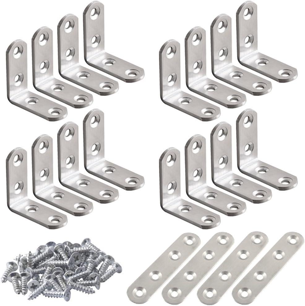 Soportes de esquina de acero inoxidable de 20 piezas, FineGood 10 piezas 40 x 40 mm Soporte en forma de L de ángulo recto de 90 grados y 4 piezas de sujetadores para silla de madera, con 80 tornillos