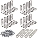 20 Pcs Stainless Steel Corner Braces, FineGood 10 Pcs 40 x 40mm 90 Degree Right Angle L-Shaped Bracket Joint and 4 Pcs Plat Braces Fastener for Wood Shelf Cabinet Chair Table, with 80 Screws