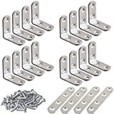 20 Pcs Stainless Steel Corner Braces, FineGood 16 Pcs 40 x 40mm 90 Degree Right Angle L-Shaped Bracket Joint and 4 Pcs…