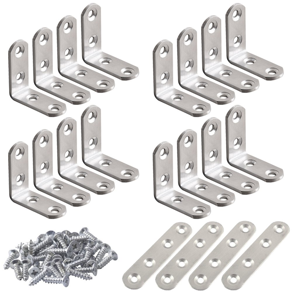 20 Pcs Stainless Steel Corner Braces, FineGood 16 Pcs 40 x 40mm 90 Degree Right Angle L-Shaped Bracket Joint and 4 Pcs Plat Straight Braces Fastener for Wood Shelf Cabinet Chair Table, with 80 Screws FG-corner_tool+screw