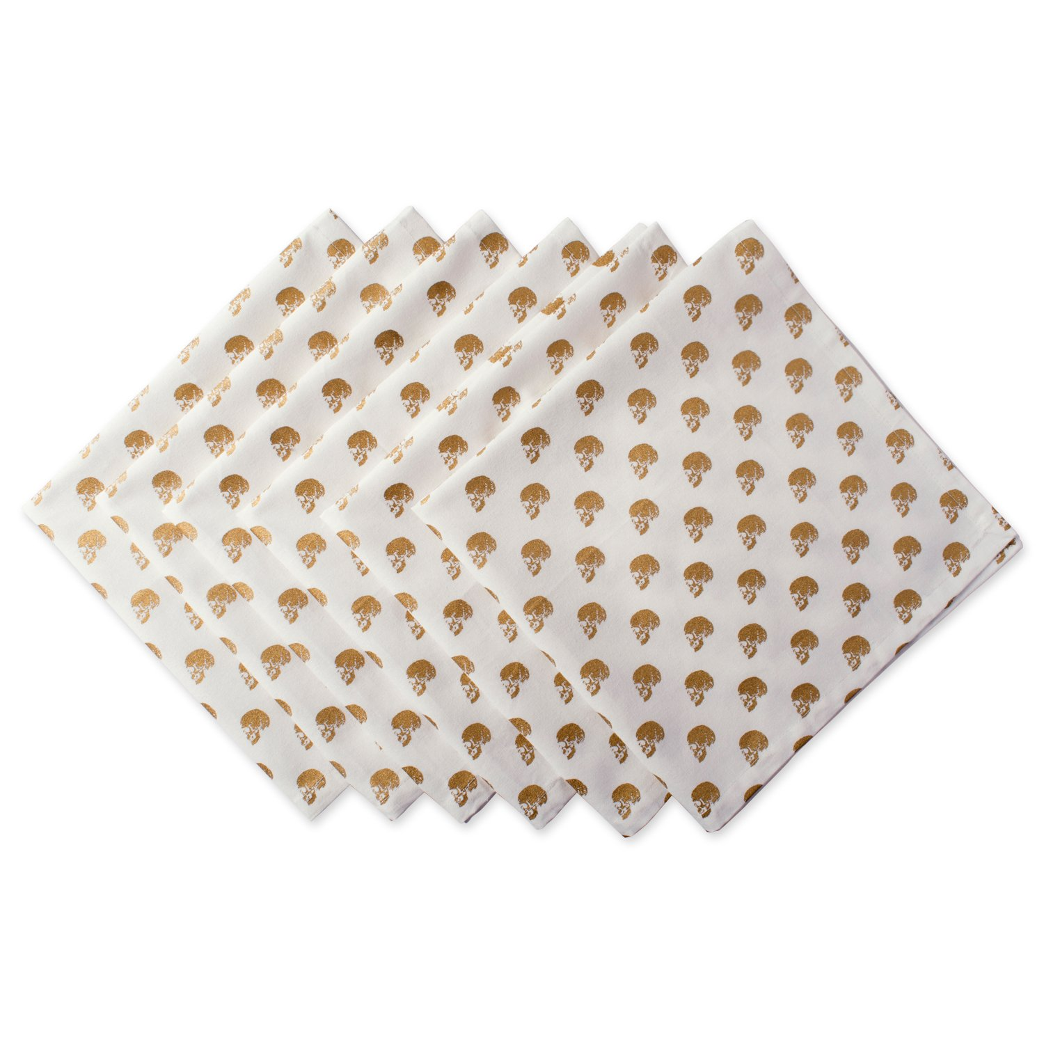 DII Oversized 20x20 Cotton Napkin, Gold Skull - Perfect for Halloween, Dinner Parties and Scary Movie Nights