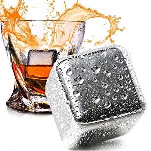 N/X Whiskey Stones Stainless Steel Ice Cubes Reusable, 8 Pack Chilling Whiskey Rocks for Drinks with Tongs & Freezer Storage Tray for Whiskey Wine Beverage, Gift Sets for Men