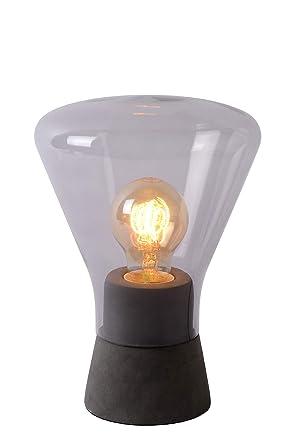 Lucide Barry - Lámpara de mesa, cristal, 40 W, color de humo ...