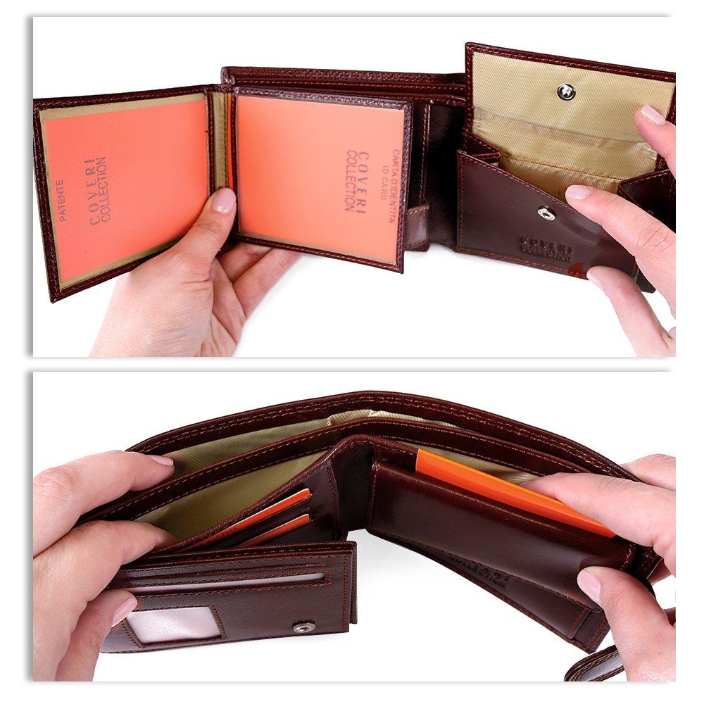 c07418d7fb Portafoglio Uomo in Vera Pelle - Wallet Sottile con Portamonete - Chiusura  con Bottone - Formato orizzontale con Porta Tessere Documenti e Banconote  ...
