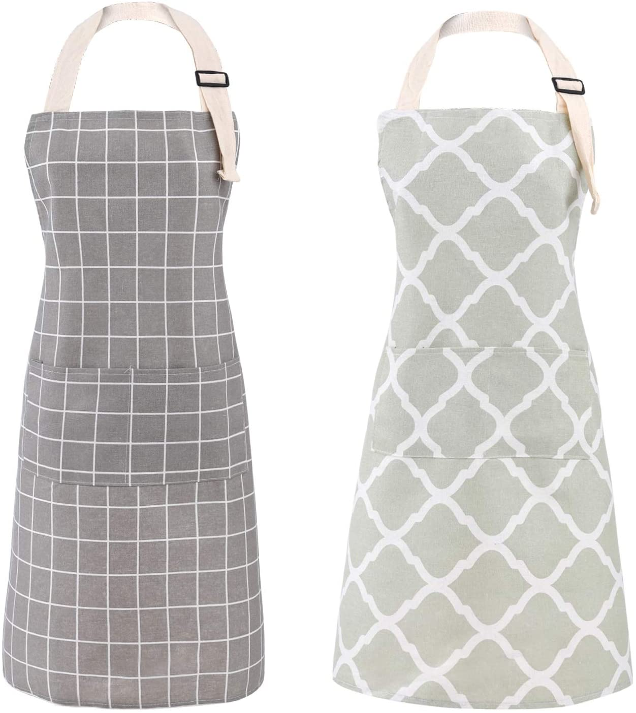 Tosewever 2 Pieces Cotton Linen Waterproof Bib Kitchen Apron with Pockets - Long Ties Adjustable Neck Strap - Unisex BBQ Cooking Drawing Crafting Aprons for Women Chef (Grey/Green, 2)