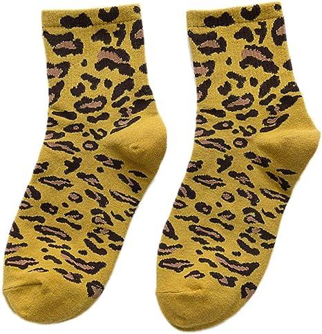 Zdmathe - Calcetines térmicos para Mujer, Transpirables, Suaves, cálidos, 100% algodón, diseño de Leopardo, Amarillo: Amazon.es: Deportes y aire libre