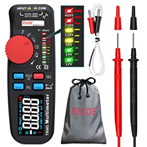 Bside Upgraded Multimeter Color LCD True RMS 6000 Counts Auto-Ranging Digital Voltmeter Amp Ohm Hz Capacitance Temp Diode Continuity Voltage Tester with 6 LED Indicators