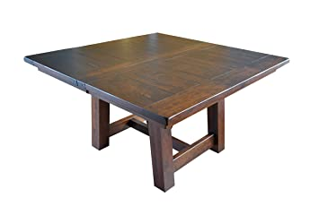 Hawthorne Rustic Farmhouse Square Table, Extendable, Solid Rough Sawn  Rustic Cherry Wood, Barnfloor