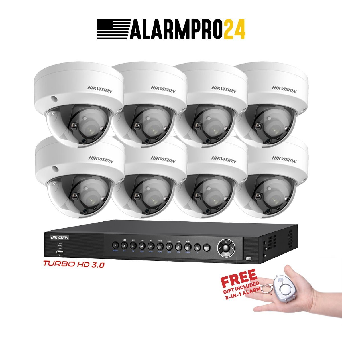 Hikvision USA 16 Channel Turbo HD Surveillance Kit +(8) x 2 Megapixel Hikvision EXIR Dome Cameras Special Package FREE Gift included Electronics