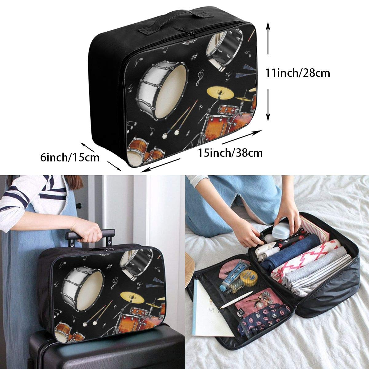 Rock Drum Stand Travel Duffel Bag Casual Large Capacity Portable Luggage Bag Suitcase Storage Bag Luggage Packing Tote Bag Weekend Trip