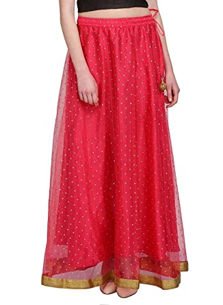 4511f1ef9 Image Unavailable. Image not available for. Color: Indian Handicrfats  Export Women's Net Embroidered Double Layer Long Skirt ...