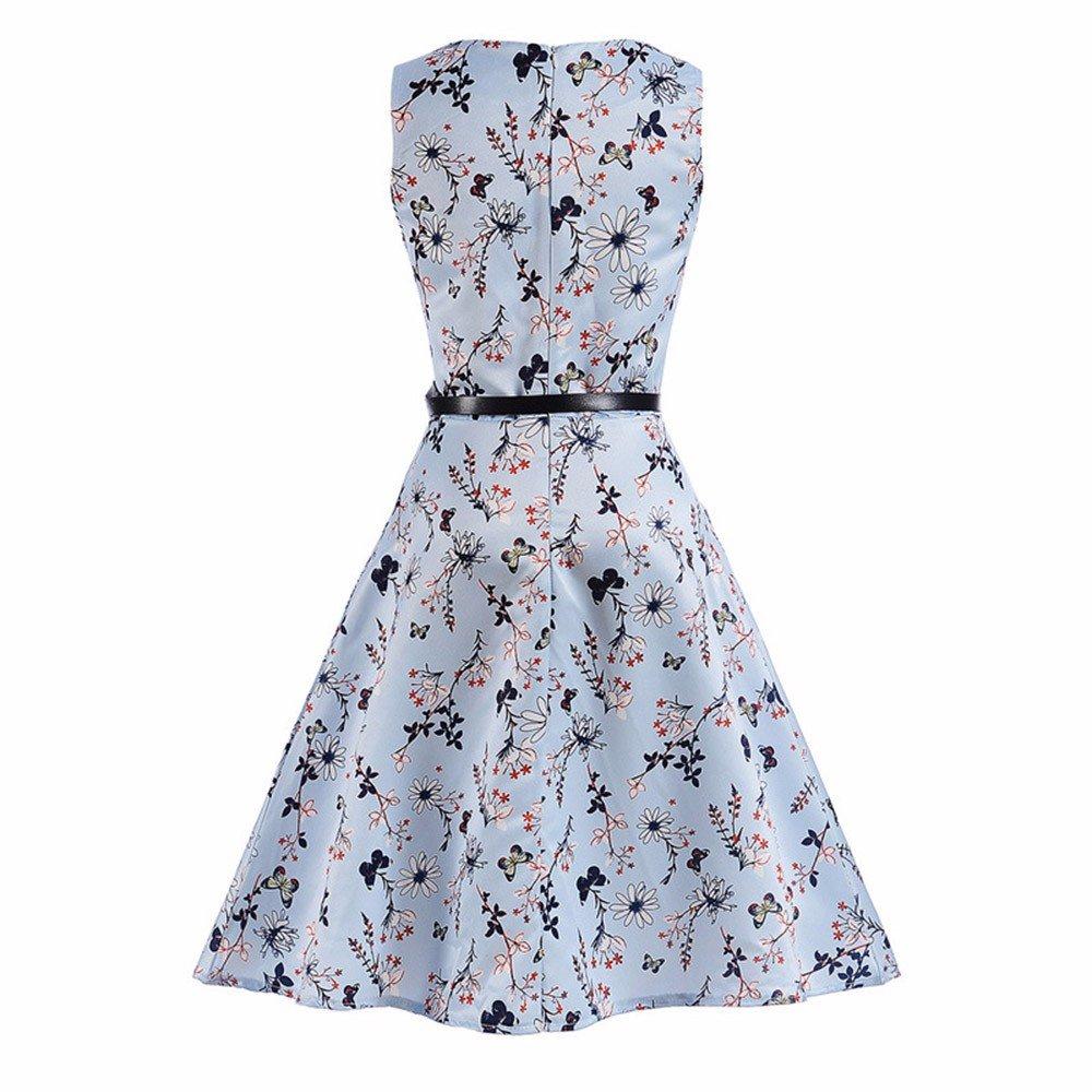 OCEAN-STORE Princess Dress+Belt Kids Child Girls Floral Print Wedding Party Summer Clothes