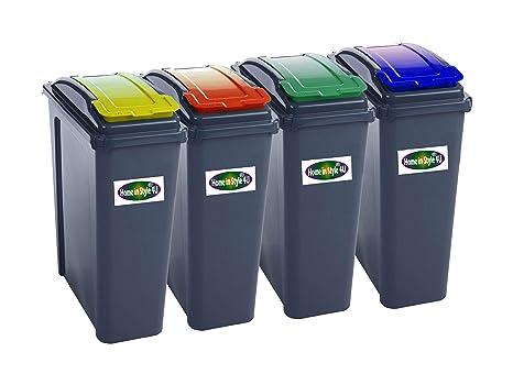 Amazon.com: 25L Conjunto de 4 cubos de basura, color rojo ...