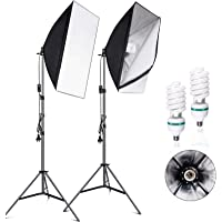VOLKWELL Softbox Lighting Kit Professional Photography 2x135W Continuous Light Studio Equipment with 5500K 2X E27 Socket…