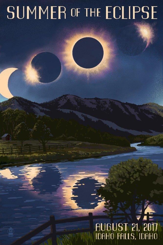 Idaho Falls, Idaho - Solar Eclipse 2017 - Summer of the Eclipse (12x18 Art Print, Wall Decor Travel Poster)
