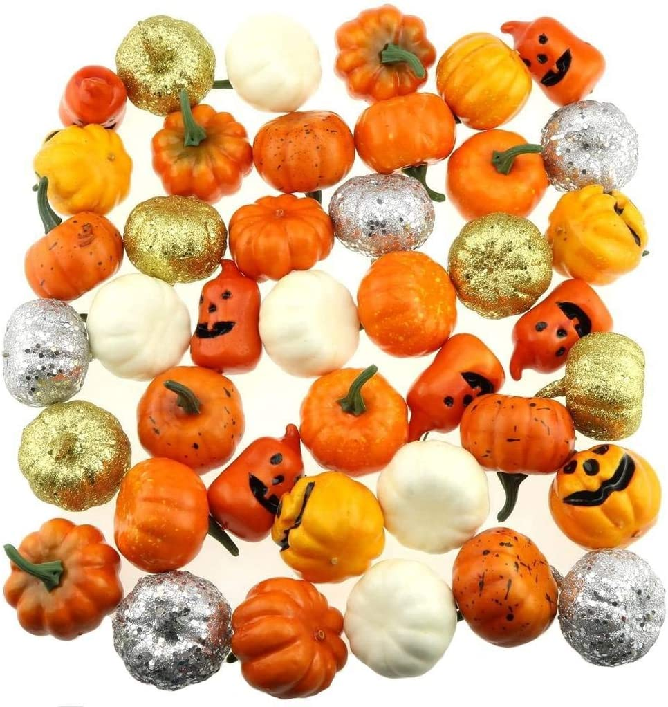 Nice purchase Realistic Fake Artificial Small Pumpkins for Decor Halloween Fall Harvest Thanksgiving Party DIY Craft Gold Pumpkins