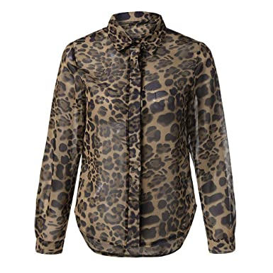 8d23be6d Womens Sexy Leopard Print Long Sleeve Button Down Chiffon Blouse Shirt Tops  at Amazon Women's Clothing store: