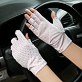 JISEN Women Sunscreen Fingerless Gloves UV