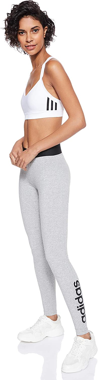 adidas Women's Designed to Move High Rise Cotton Long Tights Medium Grey Heather/Black