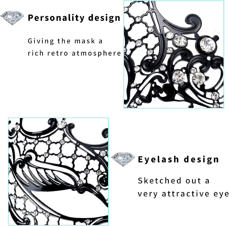 VABNEER Metal Masquerade Mask Lace Eye Mask Shiny Mask Charming Half Face Mask Carnival Mask Opera Prom Mask Black